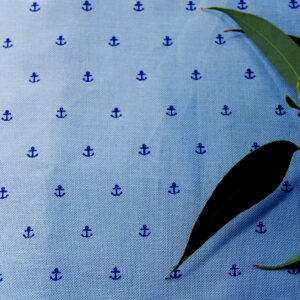 Organic Cotton Medium Poplin-Printed Anchor Navy on Blue