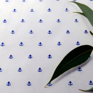 Organic Cotton Stretch Poplin- Printed-Anchor Navy on Off White